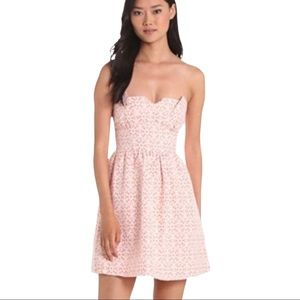 KENSIE Pretty eyelet strapless lined dress